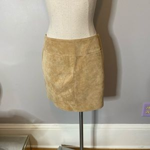 Mossimo 100% Leather Suede Mini Skirt Tan 2